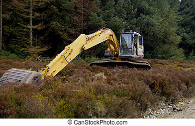 Earth Mover 3 - Earth moving machinery laying idle in the...