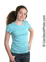 niña, azul, camisa, auriculares