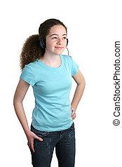 Teen Blue Shirt Headphones