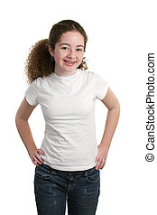 Teen In Blank T-Shirt - A cute teen girl modeling a white...