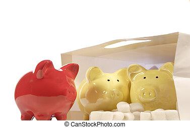 piggy, banca, rosso