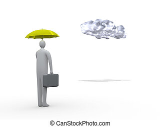 Business Protection - 3d businessman holding an umbrella,...