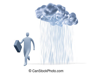 Business Risk - 3d businessman hunted by a rain-cloud.