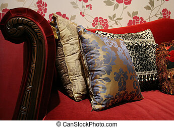 Sofa and cushions - Red sofa and modern cushions - home...