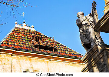Aix-en-provence #25 - A statue and building in...