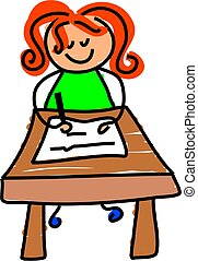 writing kid - little girl sitting at a desk learning to...