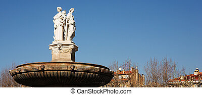 Aix-en-provence #58 - The central roundabout fountains in...