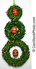 3 easter wreaths - easter decoration, isolated on white