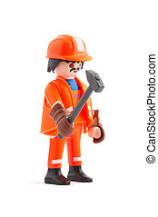 hard working - plastic construction worker with hammer in...