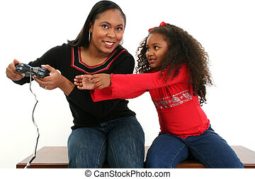 Mother Daugther - Mother and daughter fighting over game...