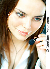 Call Center Agent - Beautiful young woman working as Call...