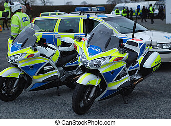 Police Motorcycles 1 - Police motorcycles and police car at...