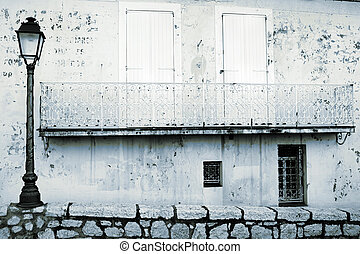 Antibes #58 - Blue tone building in Antibes, France. Copy...