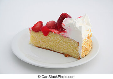 piece of strawberry cake on a white background