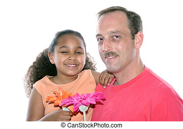 Diverse Happiness - Little girl and dad with flowers.
