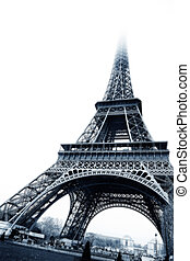 Paris #20 - The Eiffel Tower in Paris, France. Black and...