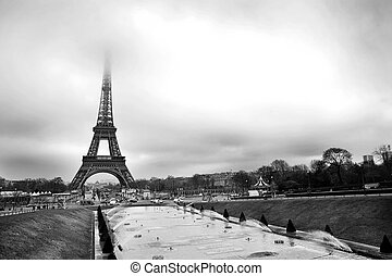 Paris #34 - The Eiffel Tower in Paris, France. Black and...