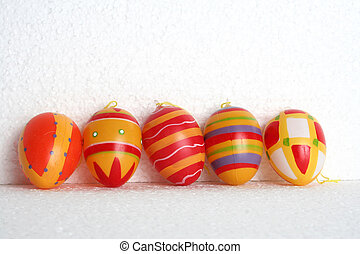 5 aligned easter eggs - decaorative easter eggs, aligned and...