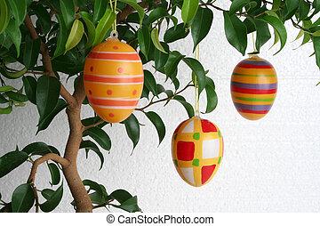 hanging eggs L - hanging easter eggs, landscape