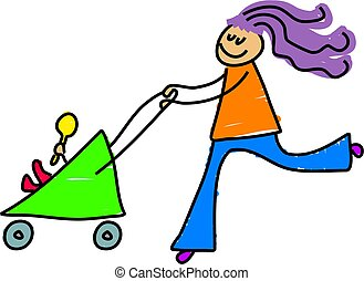 young mother pushing her baby in the pram - toddler art...