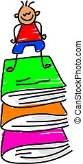 my books - little boy standing on a pile of books - toddler...