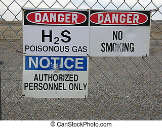 signs - danger signs at a sour gas facility