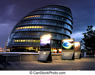 London modern building by night - London modern building in...