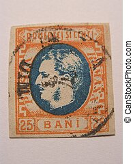 Very old stamp 25 bani - very old stamp from Romania =