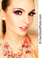 Artificial Eyelashes - Portrait of attractive beautiful...