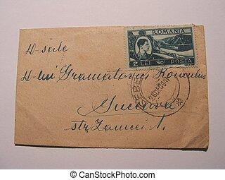 vecchio, francobollo, corespondence