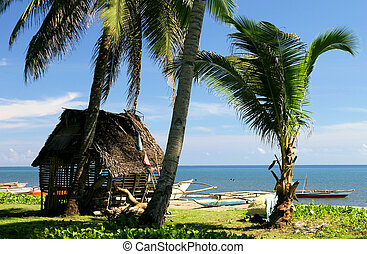 beach hut - a thatch hut sits on a tropical beach