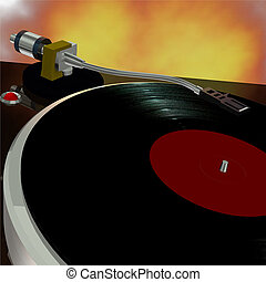 Turntable 5 - 3D rendered Record player with vinyl album...