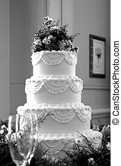 Wedding Cake - Black and white photo of a beautiful wedding...