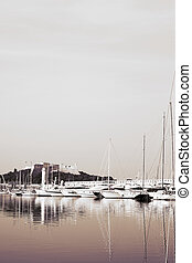 Antibes #288 - A harbor in Antibes, France. Duo tone. Copy...