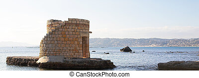 Antibes #235 - Ruins surrounded by water in Antibes, France....