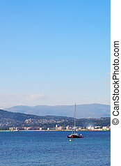 Antibes #272 - A yacht on the sea in Antibes, France. Copy...