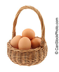 basket full of eggs - pure white background