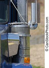 semi, camión, detalle