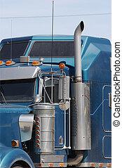 semi, caminhão, detalhe