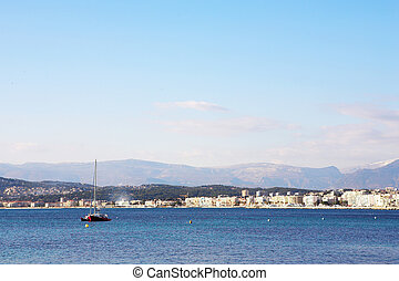 Antibes #289 - A yacht on the ocean in Antibes, France. Copy...