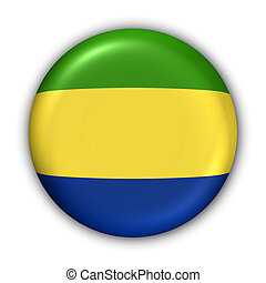 Gabon Flag - World Flag Button Series - Africa - Gabon With...