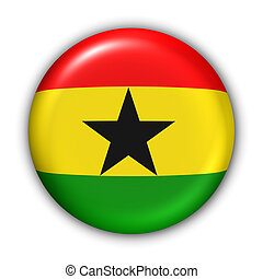 Ghana Flag - World Flag Button Series - Africa - Ghana With...