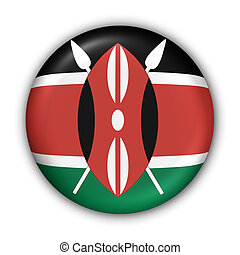 Kenya Flag - World Flag Button Series - Africa - Kenya With...