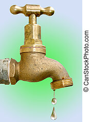 Dripping tap - Old brass dripping faucet. Clipping path...