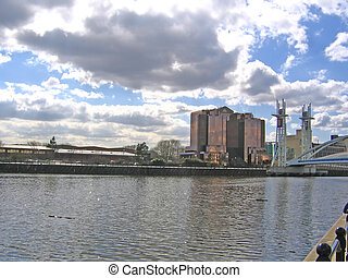 Office Buildings, River and Bridge in Salford near...