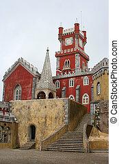 castle clocktower - clocktower in Pena Palace, Sintra,...
