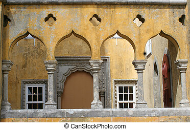 palace archways - Pena Palace in Sintra Portugal
