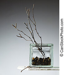 Vase with Willow Twigs - Glassa block vase with willow twigs...