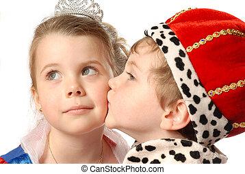 The Kiss - prince and princess kissing