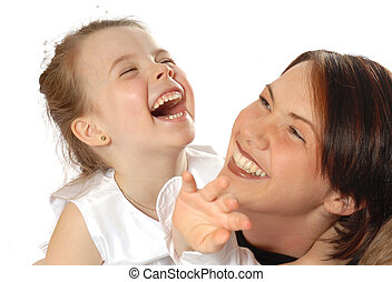 Mother and Daughter - family portrait laughing